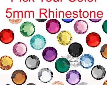 300-1500 PCS X 5mm Round Mix Crystal Assorted Color Nail Art Rhinesetone Flat Back Mixed Color Crystal Cabochons Mixed RS Silver Orange R5