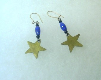 Hand Crafted Brass Star with Blue and Red Bead - 1970's
