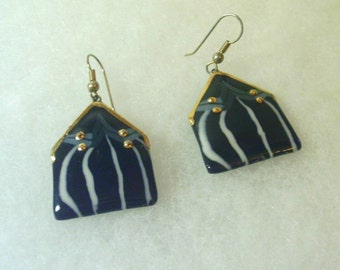 Hand Crafted Vintage Ceramic Earrings - Black with White Stripe, Gold Trim