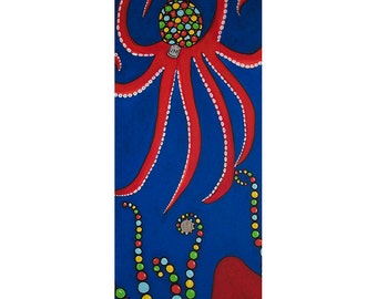 Want Need Envy Greed Octopus Gumball Machine Pop Art Red Blue Acrylic Painting 12x30