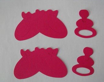 Baby Booties and Pacifiers, Pink, Handmade, Embellishments, Cardstock, Baby, Girl