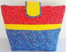 Quilted Tote Bag Messenger or Tablet Tote Bag Diaper Bag Nursery Shower Gift