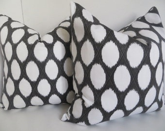 Dark Gray Pillow Cover, White Gray Pillow Covers, Circles Gray White Pillow Cover, Home Decor Pillow Covers, Accent Pillow Covers