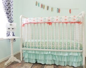 Boutique Cribset in Aqua, Coral, and Gold with Arrows and Herringbone