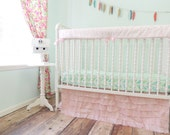 Boutique Bumperless Cribset in Pink and Aqua
