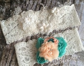 LACE GARTER SET / Aqua and Peach garter/ Vintage inspired / Shabby Chic