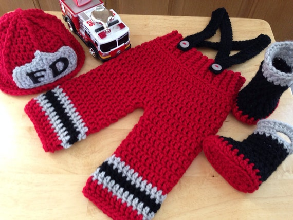 Crochet Patterns For Baby Frocks : Baby Firefighter Fireman Crochet Hat Outfit 4 pc Turn Out