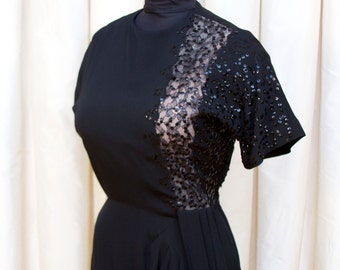 1940s Dress // Black Illusion Lace Panel Sequin Rayon Hip Swag Evening Dress
