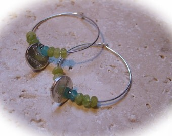 Green and blue hoop earrings