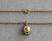 Vintage 1950s Pendant Necklace of Hand Painted Yellow Guilloche and Paste Rhinestones
