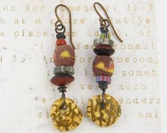 Asymmetric Earrings - Rust Brown Gray Rustic Tribal Earthy Dangle Earrings