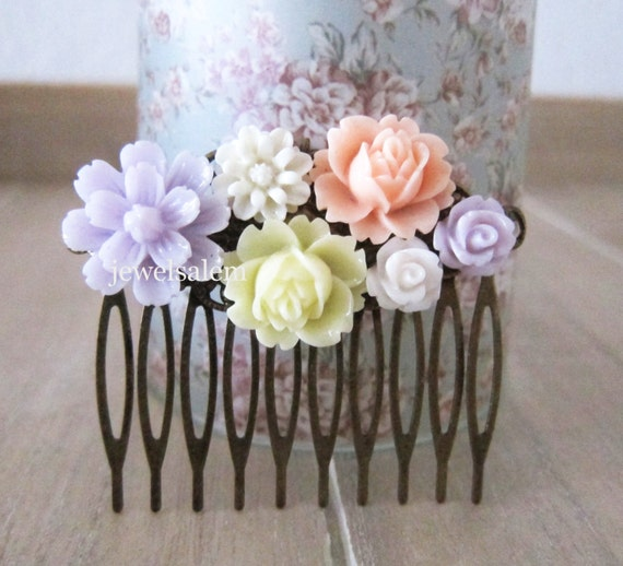 Wedding Hair Comb Flowers Mauve Lilac Soft Purple By Jewelsalem