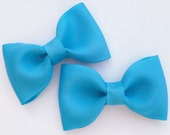 2 turquoise pigtail hair bows--tuxedo bow tie clip accessories for baby toddler big girls