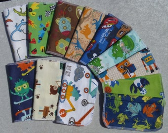 Set of 10 boys pattern print, reusable cloth napkins, baby wipes, lunch napkins, unpaper napkins
