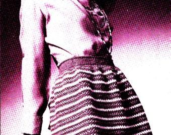 INSTANT DOWNLOAD 3 Vintage knitting  crochet Pattern , pdf  pattern, Tri -colored Dirndl ,Striped Evening skirt, Mosaic Midi granny squares
