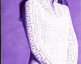 INSTANT DOWNLOAD 2 Vintage crochet Pattern , pdf crochet pattern,  -eyelet checkered blouse , garter stitch skirt- greek  key tunic