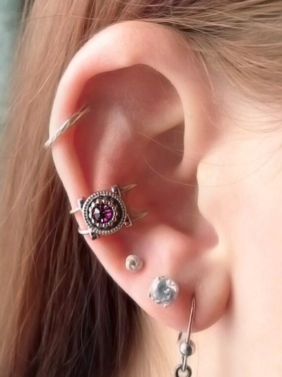 Small Amethyst Ear Cuff