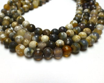Faceted Agate Beads. Gemstone Beads. White. Gold. Grey. 6mm. Full Strand. 14 inch. Approx. 60 Beads.