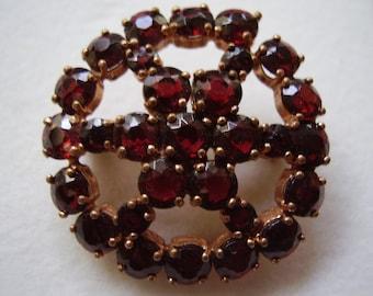 Victorian Bohemian Garnet Ribbon Slide Necklace or Pin