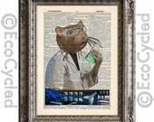 Lab Rat Laboratory Scientist on Vintage Upcycled Dictionary Art Print Book Art Print Recycled Repurposed Science Amazing Animalia