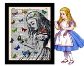 Alice in Wonderland with Butterflies 2 on Vintage Upcycled Dictionary Art Print Book Art Print Recycled