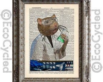 Lab Rat Laboratory Scientist on Vintage Upcycled Dictionary Art Print Book Art Print Recycled Science book lover gift lab tech science art