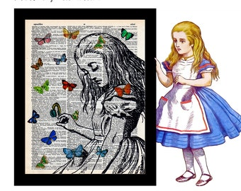 Alice in Wonderland with Butterflies 2 on Vintage Upcycled Dictionary Art Print Book Art Print Recycled bookworm gift