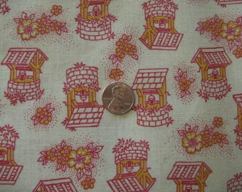 feedsack material 44 by 37 inches wishing wells quilting fabric novelty print red and yellow