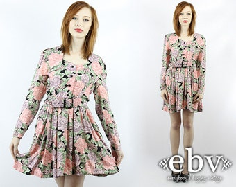 Vintage 80s Floral Secretary Mini Day Dress S M Floral Dress Secretary Dress Longsleeve Dress Babydoll Dress Work Dress Mini Dress
