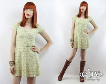Babydoll Dress Lace Dress 90s Dress 90s Mini Dress Summer Dress Festival Dress Vintage 90s Grunge Pale Green Lace Mini Dress XS