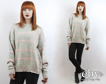Vintage Grey + Pink Striped Oversized Sweater S M L Oversized Knit Hipster Sweater Wool Sweater Vintage Jumper Striped Sweater Rugby Sweater