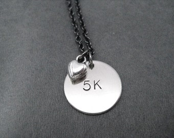 5K LOVE Necklace - Running Necklace - on 18 inch gunmetal chain - Running Jewelry - Run Necklace - 5k Running - Love to Run 5k - First 5k