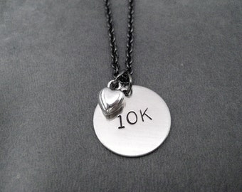 10K LOVE Necklace - 10k Running Necklace on Gunmetal chain - Running Jewelry - Run Necklace - 10K Running - Love 10k - First 10k Road Race