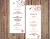 "DIY Printable Wedding Menu Template ""Paradise garden"", Instant Download, 4 x 9.25, DIY printable menu, Microsoft Word format"
