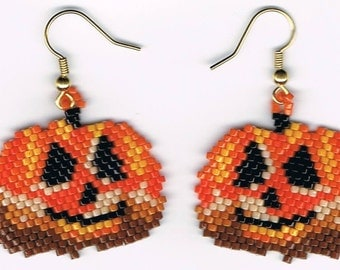 Hand Beaded Jack O Lantern Pumpkin #4 earrings