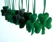 10 Puffy felt  SHAMROCK Ornaments  Handmade Set of 10  Bowl fillers  St Patrick's day Irish w storage bag