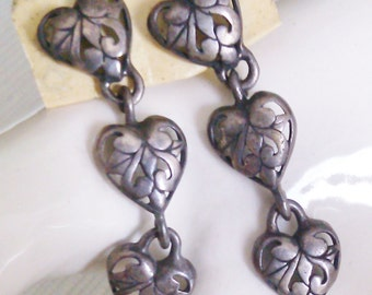 3 Cut-out Heart Dangles with Post Backs  Looks Like Sterling but we couldn't see a Mark