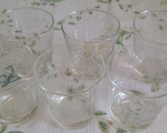 6 Bambo Etched Old Fashion Glasses