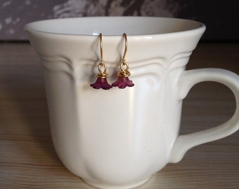 Pretty Purple Flower Earrings