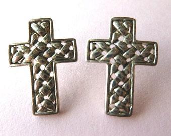 Silvertone Signed Basketweave Cross Earrings, Vintage Designer Cross Earrings, Pierced Cross Earrings