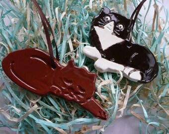 Easter Handmade Ceramic Ornaments - chocolate cats