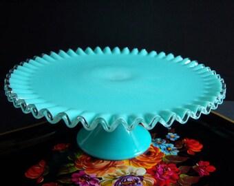"Fenton Turquoise ""Silvercrest"" Milk Glass Cake Stand - Fenton Turquoise Cake Stand - Something Blue - Wedding Cake Stand - Vintage Wedding"