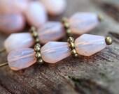 Opal Pink teardrop beads, pear shaped czech glass beads, drops, fire polished -  7x5mm - 25pc - 1984