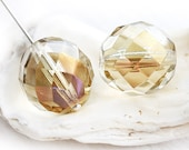 16mm round beads, Golden Shadow, Light Smoky Topaz AB finish, Fire Polished Czech glass ball beads - 0338