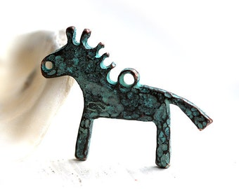 Horse Pendant bead, Green patina on copper, metal horse charm, Primitive Greek bead,  30mm - 1pc - F143