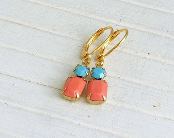 Coral and Turquoise Earrings .. small earrings, colourful earrings, dangle earrings