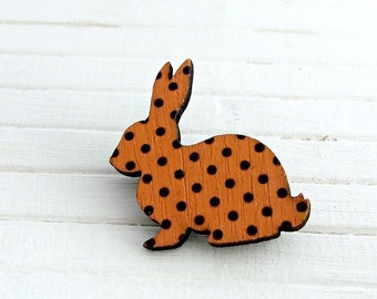 Orange Rabbit Brooch .. wooden brooch, animal brooch, rabbit pin