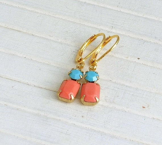 coral and turquoise earrings small earrings by