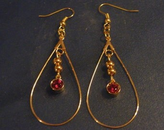 Garnet Earrings! Faceted, Red Garnets, Gold Tear Drop Earrings! OOAK! January Birthstone, Birthday Gift, Anniversary Gift, Holiday Gift