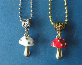 Mushroom Pendants! White, or, Red, Mushroom Charm, Pendants! Girls Gifts, Teen Gifts, Women's Gifts, Birthday Gifts, Holiday Gifts
